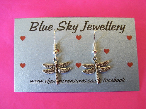 Blue Sky Dragonfly Earrings