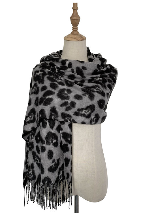 Grey Leopard Wool Mix Scarf with Tassels