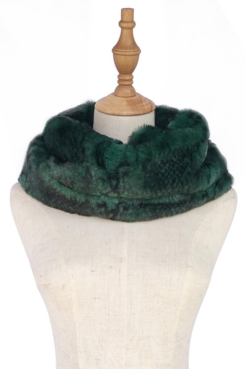 Green Snakeskin Print Faux Fur Soft Snood