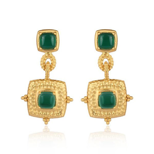 Gold + Green Onyx  Decorative Square Drop Earrings