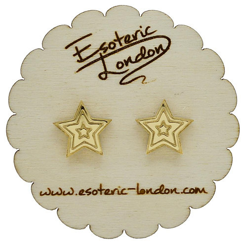 Esoteric Gold Mirror Star Stud Earrings