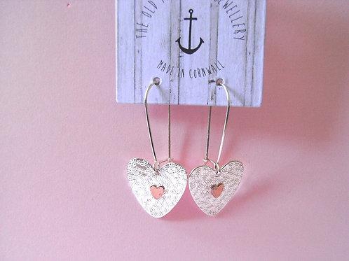 Old Farmhouse Embossed Silver + Copper Heart Earrings