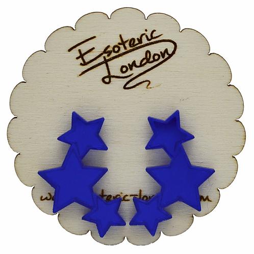 Esoteric Blue Triple Star Earrings