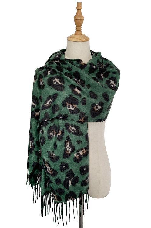 Green Leopard Wool Mix Scarf with Tassels