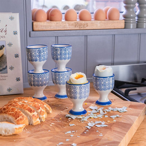 Blue Floral Hand Printed Egg Cup