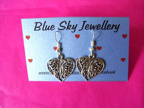 Blue Sky Butterfly Heart Earrings