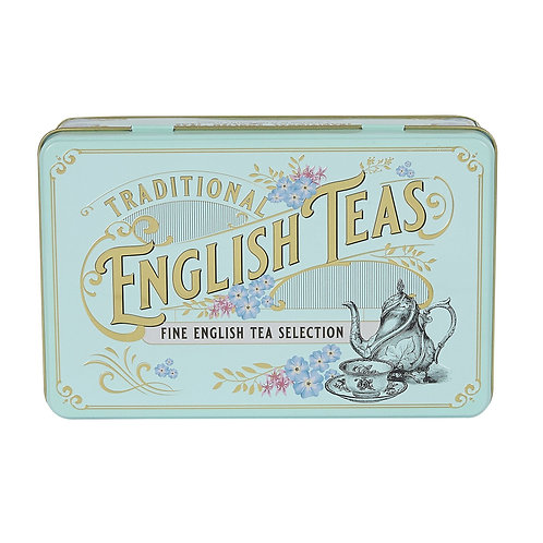 VINTAGE VICTORIAN TEA TIN WITH 72 TEABAG SELECTION
