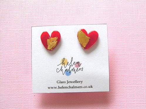 Helen Chalmers Ruby Heart Earrings (Design 25)
