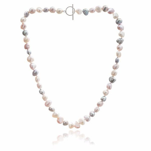 Pink/ Grey/White Fresh Water Pearl Necklace