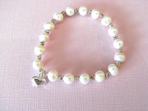Ivory Freshwater Pearl Heart Charm Bracelet