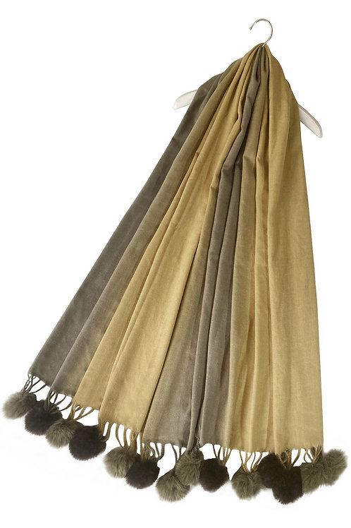 Gradual Colour Gold Scarf With Faux Fur Pom Poms
