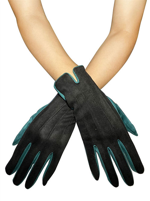 Black Two Tone Suede Effect Touchscreen Gloves