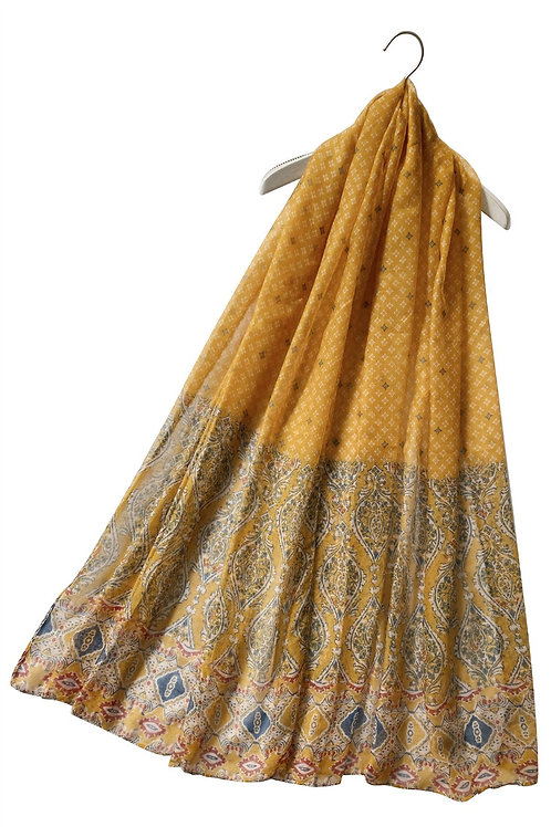 Moroccan Style Mustard Print Scarf