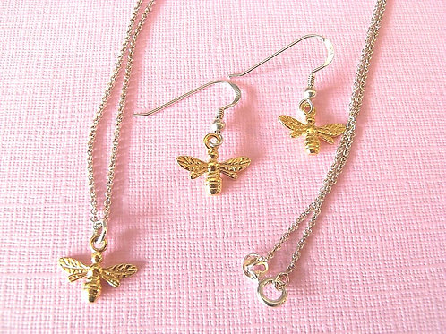 Sterling Silver Gold Plated Bee Jewellery