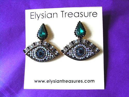 Crystal Eye Stud Drop Earrings