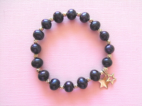 Sea Daisy Blue/Black Pearl Star Bracelet