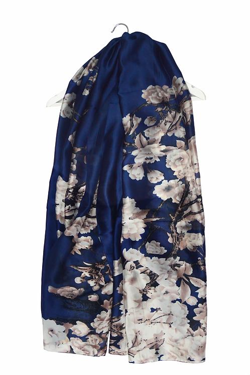 Navy Cherry Blossom Scarf 100% Silk