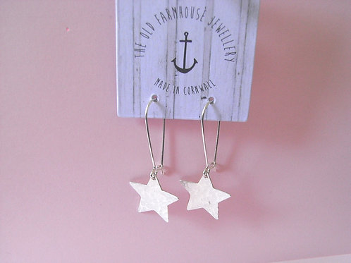 Old Farmhouse Hammered Silver Star Earrings