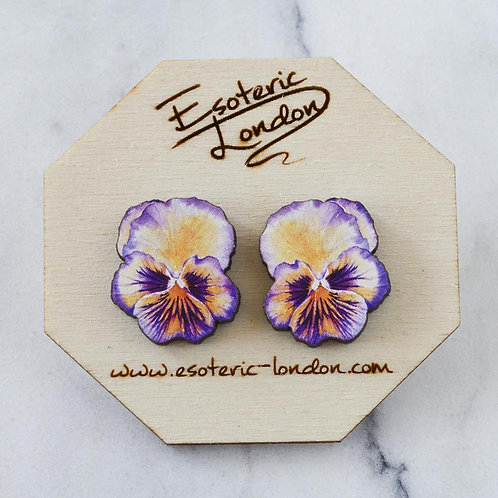 Esoteric Purple/Orange Pansy Stud Earrings