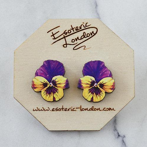 Esoteric Purple/Yellow Pansy Stud Earrings