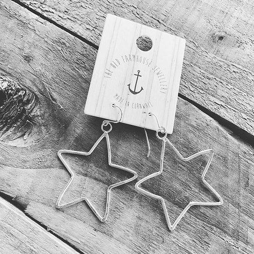 Old Farmhouse Silver Open Star Earrings