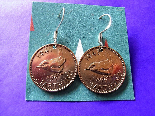 1941 Farthing Coin Earrings
