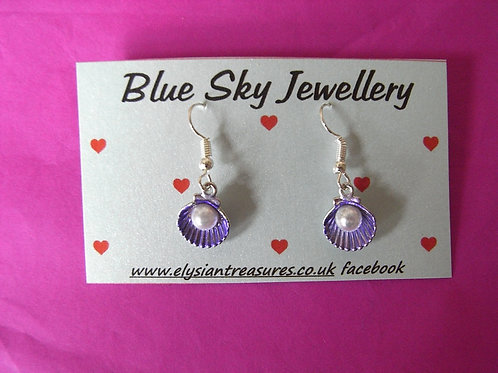 Blue Sky Lilac Shell Earrings