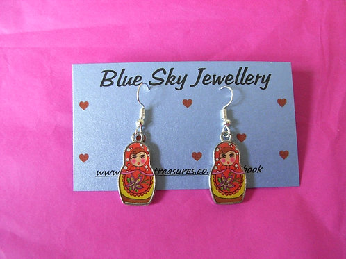 Blue Sky Red Doll Earings