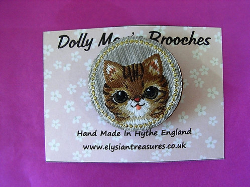 Dolly May Embroidered Pussycat Brooch