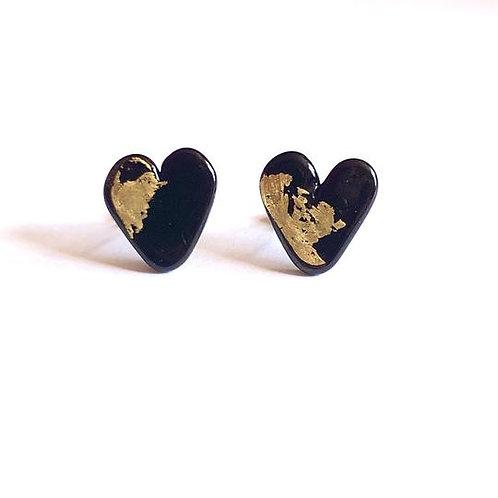 Helen Chalmers Black Heart Stud Earrings(Design 30)