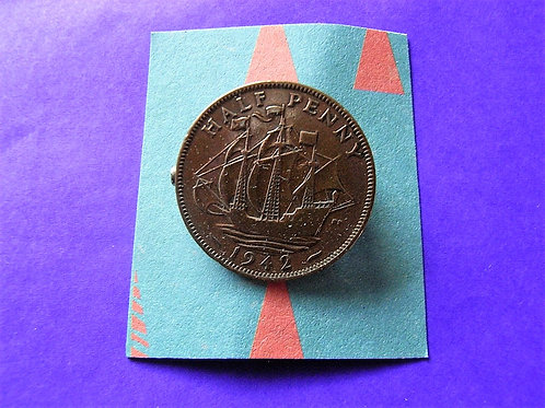 1942 Half Penny Coin Brooch