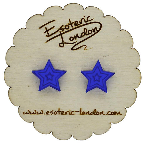 Esoteric Blue Mirror Star Stud Earrings