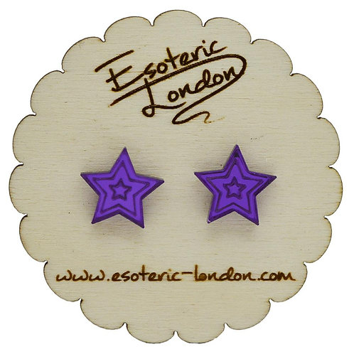 Esoteric Purple Mirror Star Stud Earrings