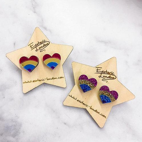Rainbow Mirrored Heart Earrings