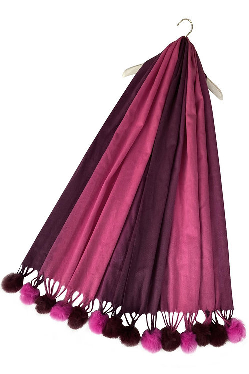 Gradual Colour Pink Scarf With Faux Fur Pom Poms