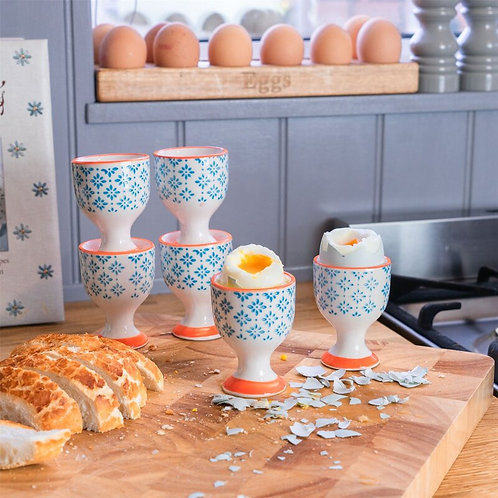 Turquoise Floral Hand Printed Egg Cup