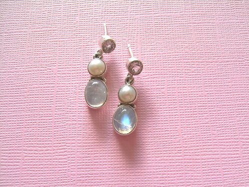 Siren Silver Rainbow Moonstone + Pearl  Earrings
