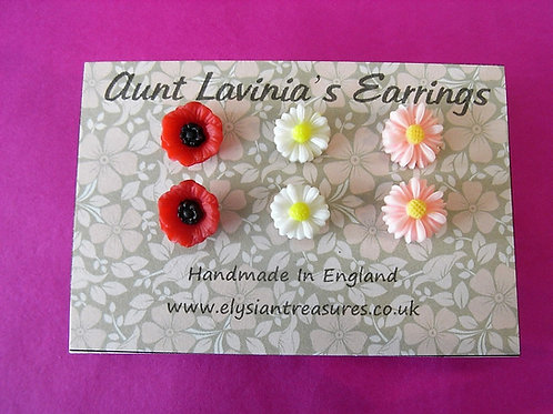Aunt Lavinia's Trio Of Flower Earrings