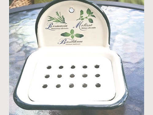 Herb Design Enamel Soap Dish