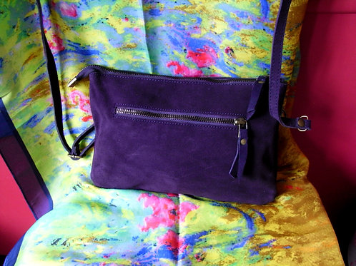 Sarah Suede Clutch Bag With Shoulder Strap