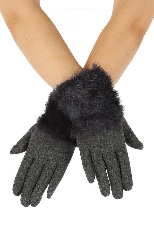 Faux Fur Plain Grey Gloves