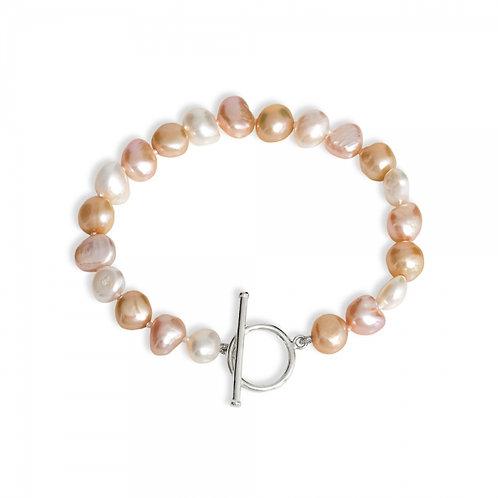 Pink, Champagne & White Fresh Water Pearl Bracelet