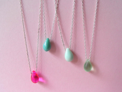 Old Farmhouse Silver Teardrop Necklaces
