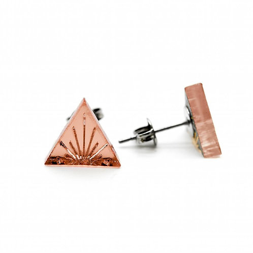 Tiny Rose Gold Sunburst Stud Earrings