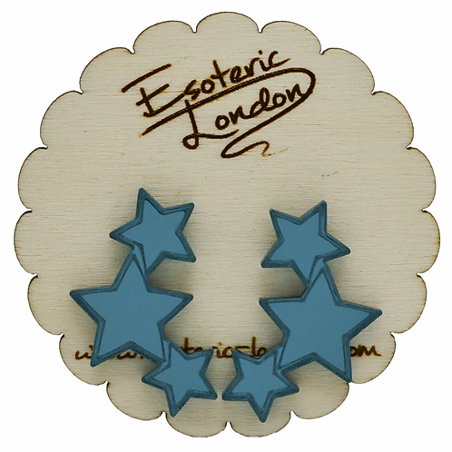 Esoteric Teal Triple Star Earrings
