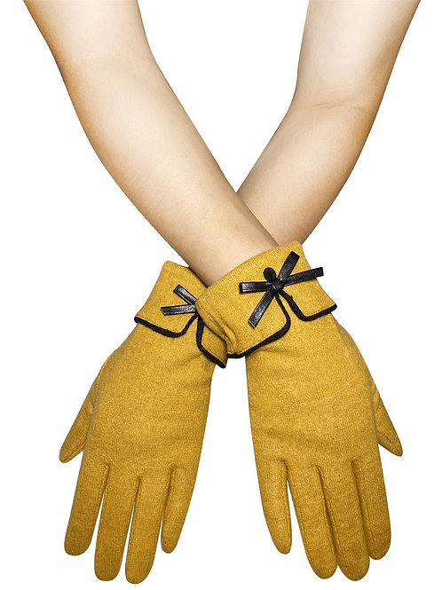 Mustard Preppy Style Bow Touchscreen Gloves