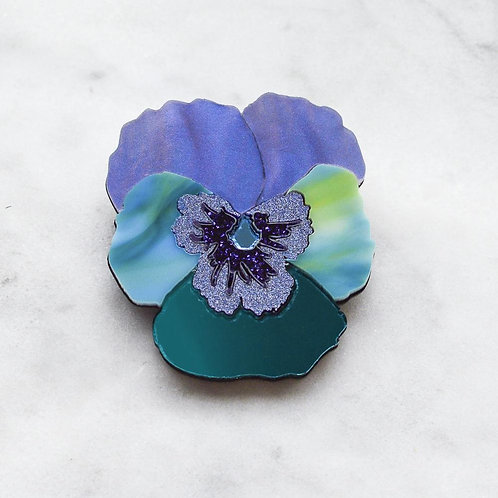 Esoteric Blue Textured Pansy Brooch