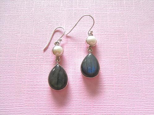Siren Silver Labradorite + Pearl Earrings