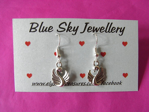 Blue Sky Swan Earrings