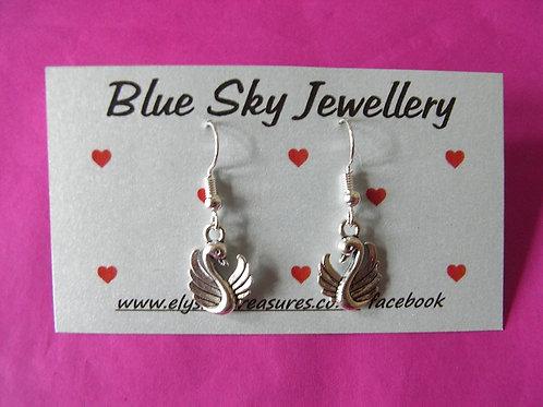 Blue Sky Swan Earrings